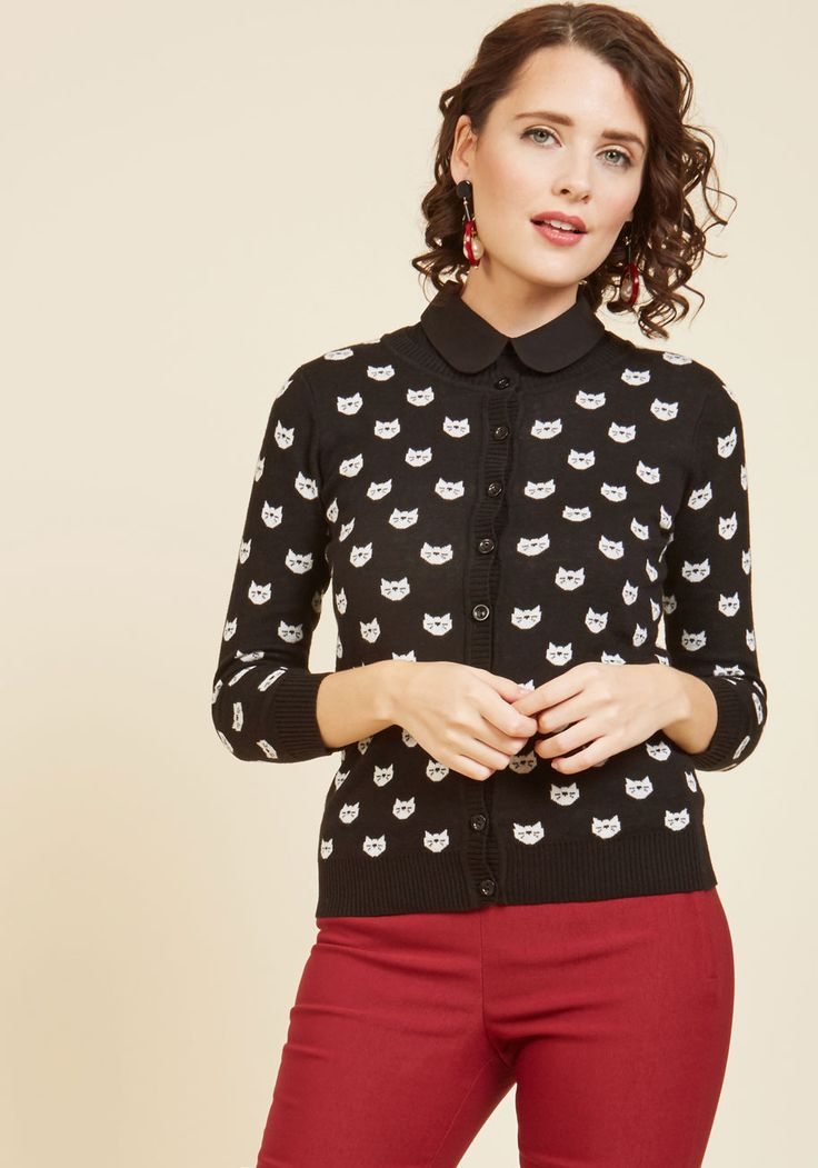 Speak Above a Whisker Cardigan. Appreciation for this black and white cardigan won't come silently. #black #modcloth
