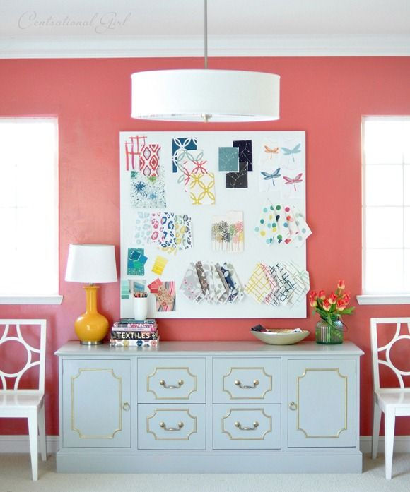 Begonia by Sherwin Williams -- coral wall gray credenza -- Centsational Girl