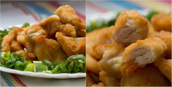 Наггетсы из курицы  ИНГРЕДИЕНТЫ  1 кг куриного филе 1 ч. л. крахмала 0,5 ч. л. соды 1 ст. л. лимонного сока соль по вкусу мука для панировки растительное масло для жарки