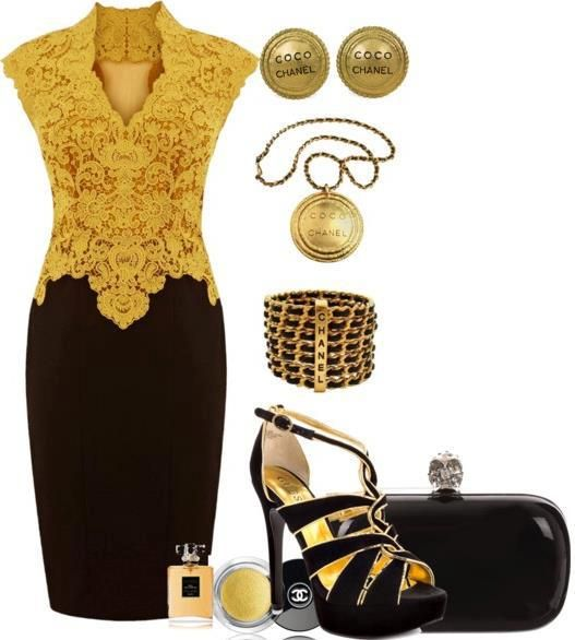 Black dress black shoes gold purse