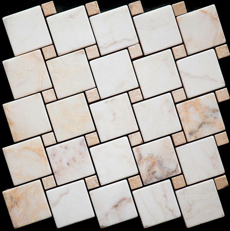 Mozaika marmurowa -  Kolekcja: Tetra 5015 Wave; Kod: TW501510; Wykończenie: ANTICO; Materiał: Skyros Light, Travertino Navona; Wym. Kostki: 5,0x5,0 cm, 1,5x1,5 cm; Wym. Plastra:  28,7x28,7 cm