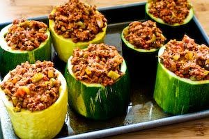 Recipe for Meat, Tomato, and Mozzarella Stuffed Zucchini Cups  from Kalyn's Kitchen.
