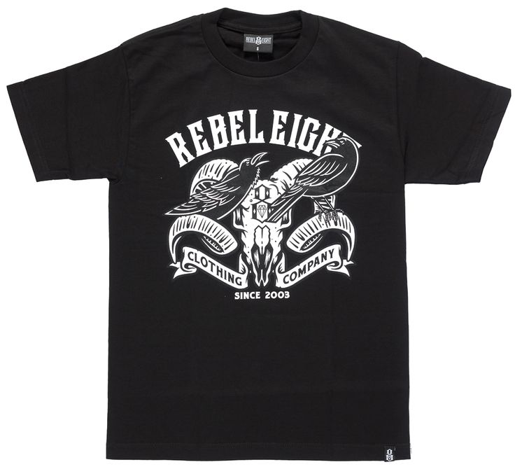 REBEL+8+RAVENS+T+SHIRT+-+Rebel+8+is+well+known+among+street+and+graffiti+artist+thanks+to+it's+creator,+tattoo+artist+Mike+Giant.+Giant's+bold+graphic+style+has+been+incorporated+into+all+Rebel+8+apparel+making+it+a+must+have+for+fans+of+his+work.+This+Raven+and+Ram+Skull+tee+features+a+white+graphic+printed+on+a+black+cotton+tee+with+Rebel+8+logo+on+the+back+center.