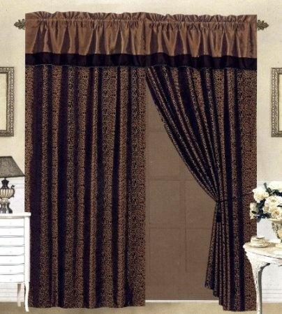 Black Brown Flocking Leopard Satin Window Curtain Drape Set Sheer Liner Valance Home Kitchen Curtains Drapes Curtains Printed Curtains