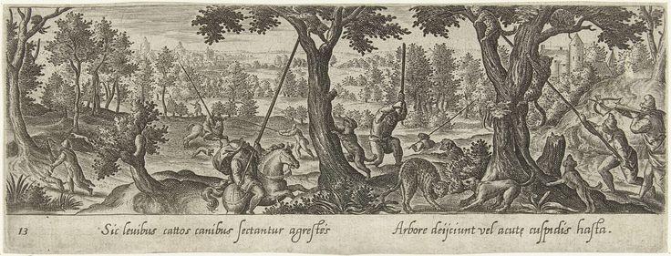 Hans Bol | Jacht op wilde katten, Hans Bol, Theodoor Galle, 1582 | Jagers vangen wilde katten door ze uit bomen te stoten met een lange stok. De prent heeft een Latijns onderschrift en maakt deel uit van een serie van 54 prenten.