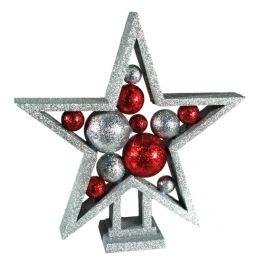 Estrela de Natal Brilhante com Bolas