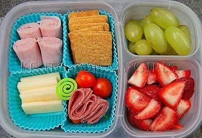 "{Lunchbox IDEA} - Make your own ""lunchable"" - HINT: use muffin tin liners to separate food items."