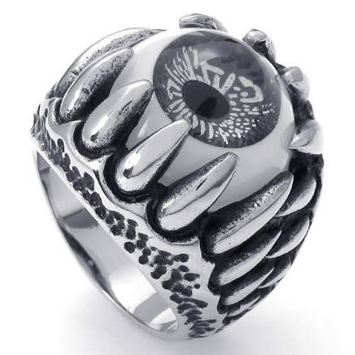 KONOV Jewelry Stainless Steel Dragon Claw Devil Eye Men's Ring, Color Black&Silver (with Gift Bag) http://www.skullclothing.net/?product=konov-jewelry-stainless-steel-gothic-dragon-claw-devil-eye-biker-mens-ring-color-black-silver-available-in-size-7-8-9-10-11-12-13-14-15-with-gift-bag