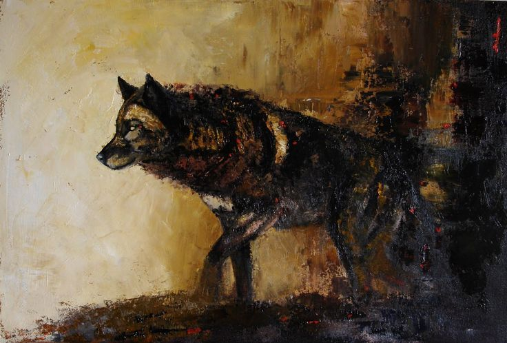 Black wolf drawing   A...