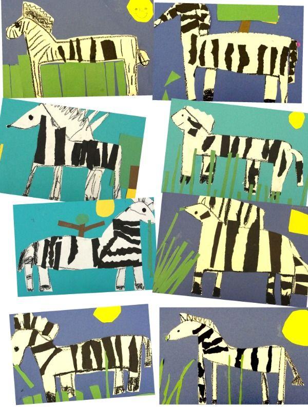 ripped paper zebras...2nd grade example...super cute!