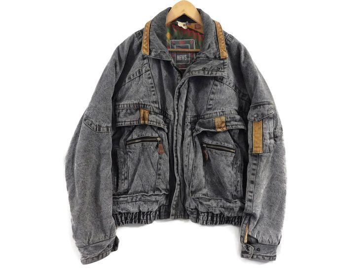 VTG Acid Wash Denim Jacket - Large Mens - Jean Jacket - Grey - Gray - Lined Jacket - Winter Jacket - Vintage Clothing - Baggy 90s Jacket - by BLACKMAGIKA on Etsy