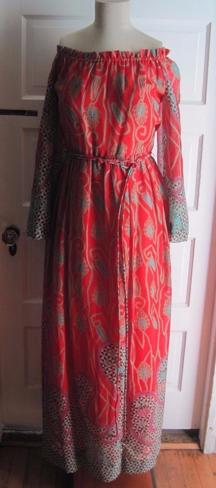 Avalon B. Altman & Co Long Maxi Bohemian Hippie Goddess Festival Dress Womens 10
