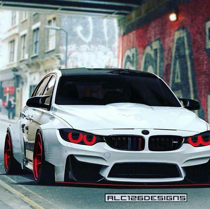BMW F80 M3 white widebody slammed demon eyes
