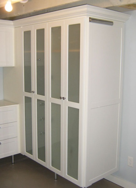 Laundry Room Storage Frosted Glass Doors California