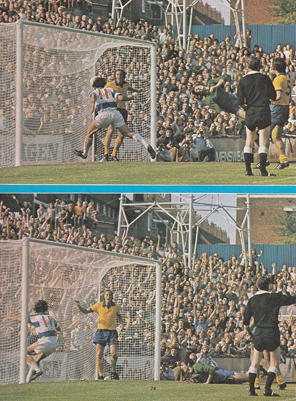 25th August 1973. Queens Park Rangers attacker Don Givens scoring against Southampton, at Loftus Road.