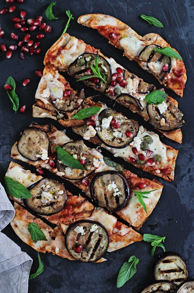 Grilled Pizza with Eggplant, Pomegranate and Feta