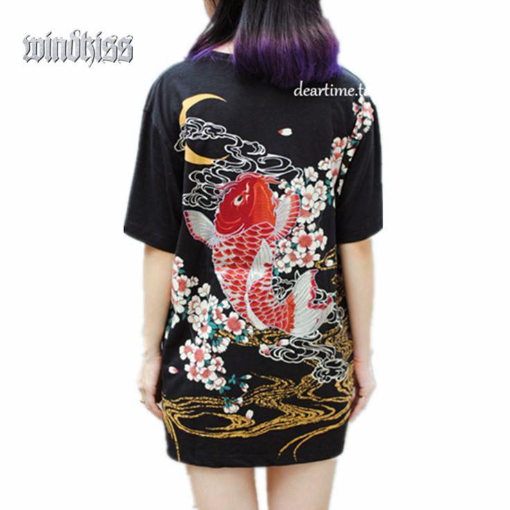 Панк фанк рок футболки harajuku 2016 Япония ЙОКОСУКА вышивка дракон кои и бейсбол равномерное мужской моды старинные рубашки купить на AliExpress