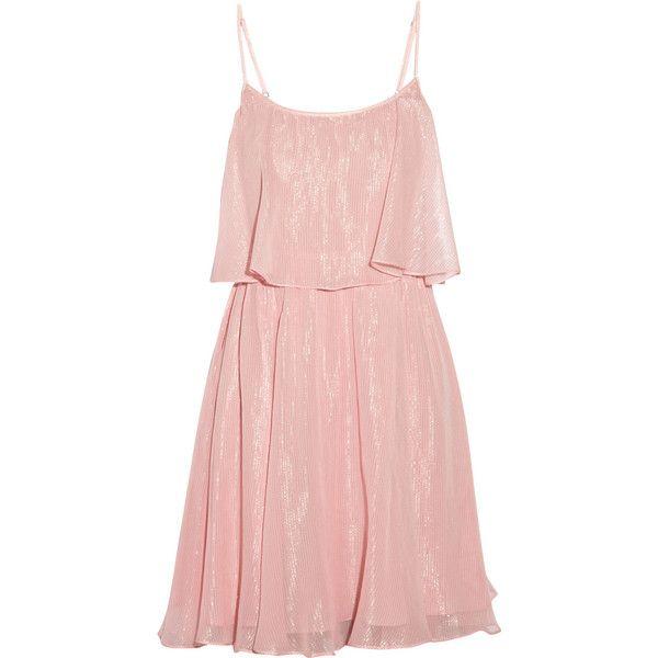 Halston Heritage Metallic silk-chiffon dress ($200) ❤ liked on Polyvore featuring dresses, vestidos, baby pink, loose fitting dresses, elastic waist dress, baby pink dress, halston heritage and pink metallic dress