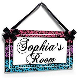 Personalized nursery or bedroom Name Door or wall Sign, Pink Purple and Blue Cheetah Print Room Decor