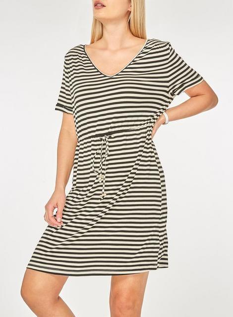43d18ec79174 Black and Ivory Striped T-Shirt Dress - View All Dresses - Dresses - Dorothy  Perkins