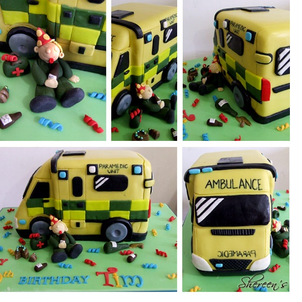 Ambulance cake with cute character