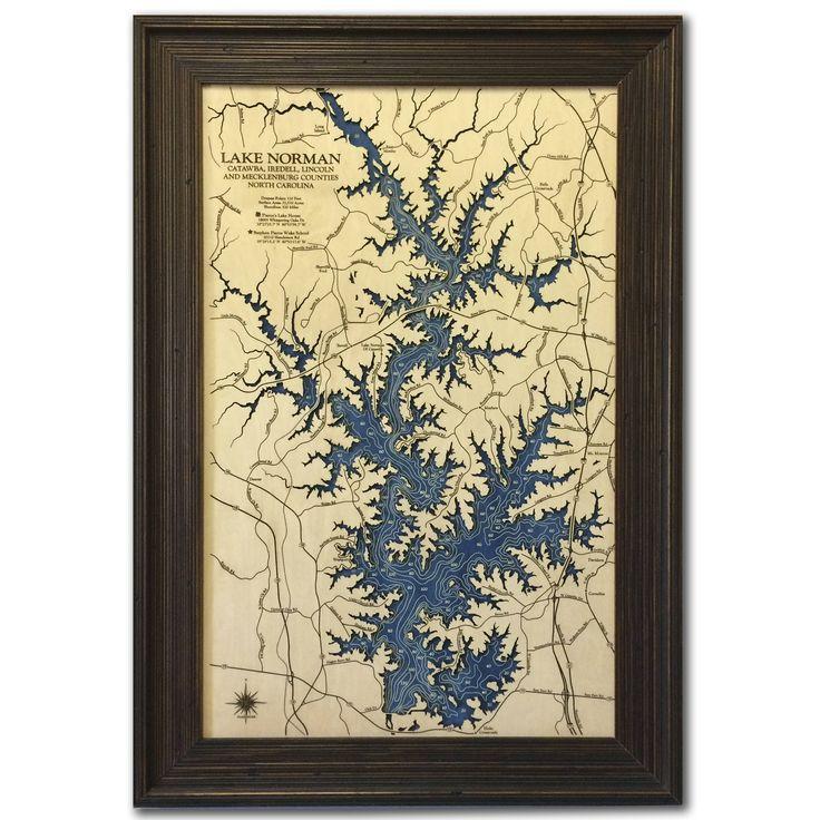 Lake Norman Custom Wood Map Art 3d Wall Art Contour Etsy Wood Map Art Wood Map Lakehouse Decor