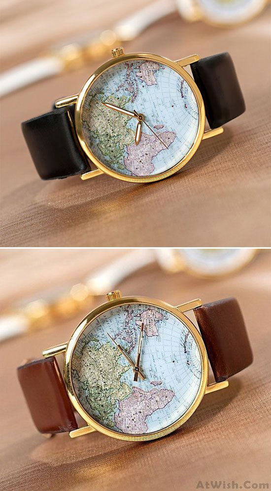 Retro World Map Leopard Brown Watch for big sale! #world #map #Brown #leopard #watch #world #map