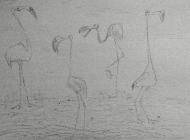 Pinterest inspired flamingo sketch. Very fun to draw)