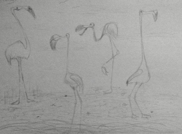 Pinterest inspired flamingo sketch. Very fun to draw)