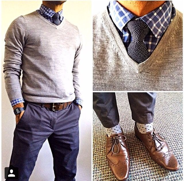 Business casual - sweater and buttons down, love the shoes!