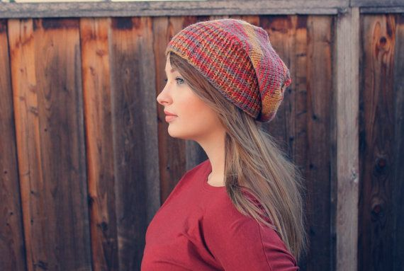 Fall Slouch Beanie // Multicolored Striped Slouch Beanie // EXOTIC BIRD COLLECTION // Boho Chic hat