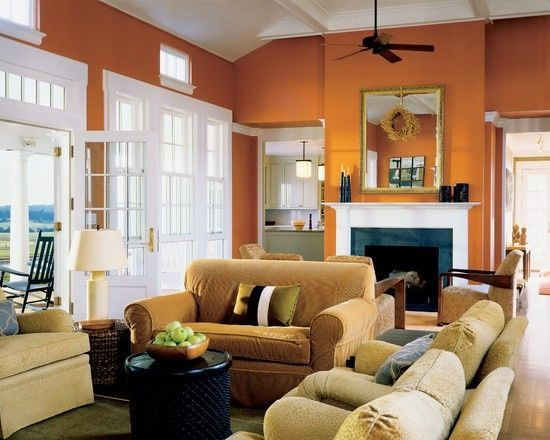 1000 ideas about orange living rooms on pinterest white - Burnt orange feature wall living room ...