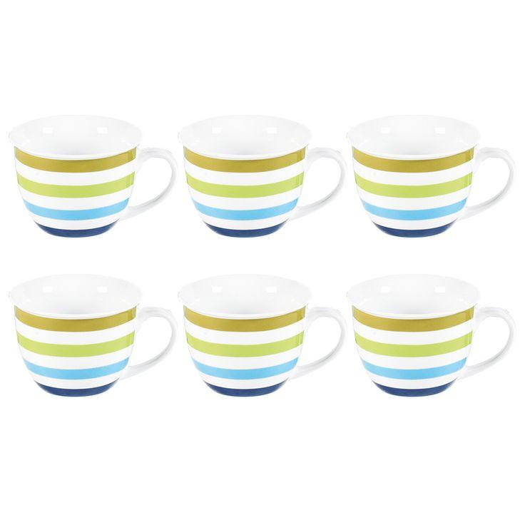 6er-Set Jumbotasse Aqua Stripes