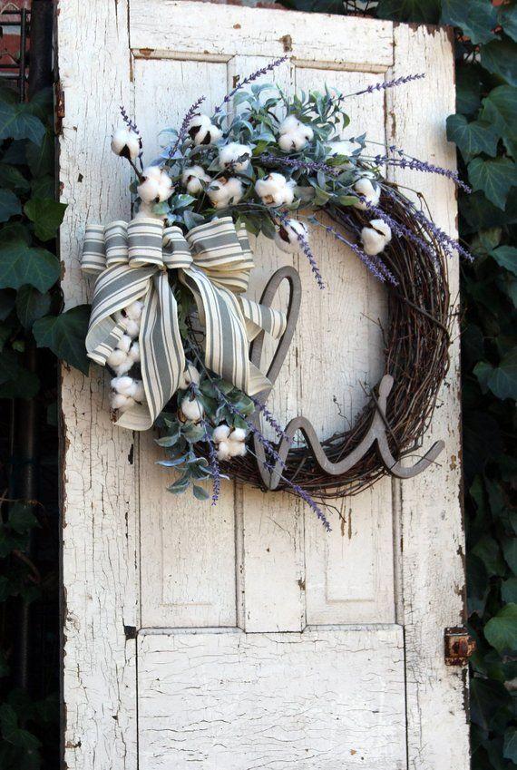 Farmhouse Wreath Front Door Wreath With Cotton Year Round Wreath Rustic Cotton Amp Lavender Wreath Shabby Chic Decor Back Door Decor Door