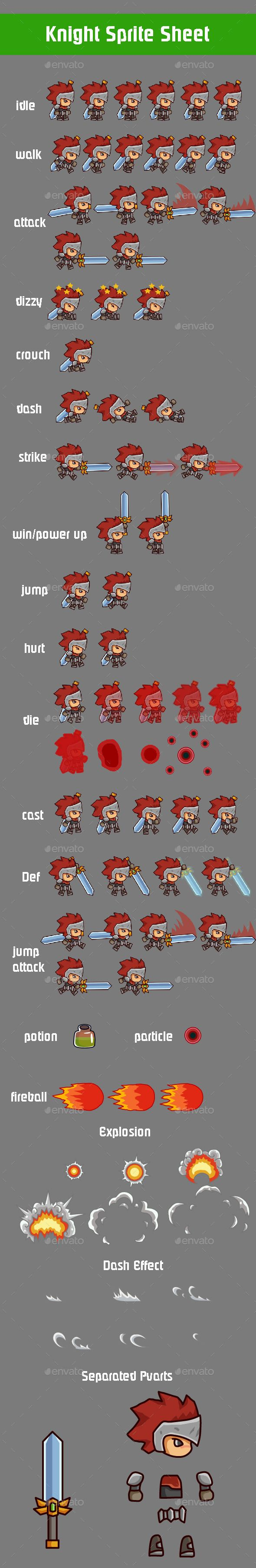 2D Knight Platform Game Sprite Sheet — Vector EPS #ios #android • Available here → https://graphicriver.net/item/2d-knight-platform-game-sprite-sheet/11741665?ref=pxcr