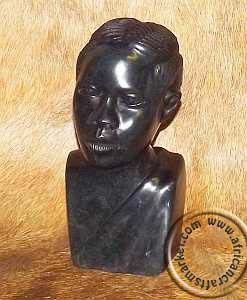 African hand carved stone tribal bust of tribes woman