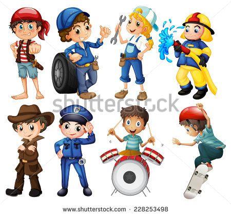Kids doing vaious activities on white - stock vector