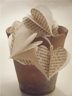 Valentine's Day book page hearts
