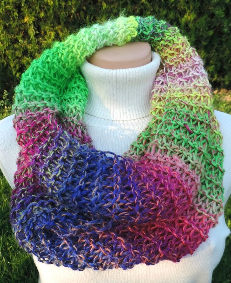 "Cowl, which you can wear around your neck. Thick and warm, many colors :-) Measurement: Scarflette length is ~ 23""x27"" (~ 60x70 cm.) Composition: - 30 % Wool and 70 % Acrylic - neon multicolor. Handmade with ♥ I recommend hand wash. $11.07 USD"