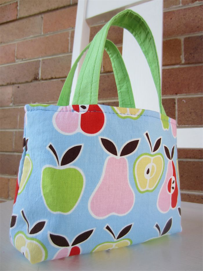 Girls Bag - Apples & Pears - Blue, Pink and Green | by LittleStarrs |