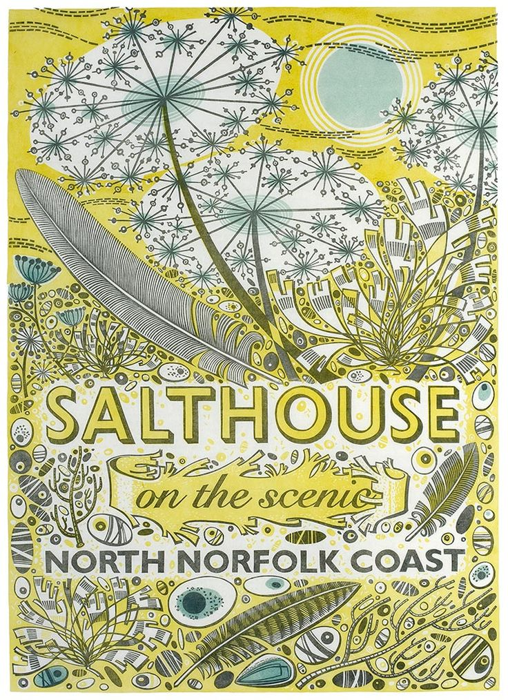 """Angie Lewin """"Salthouse"""" linocut (one-off) for Coast magazine http://allthingsconsidered.co.uk/2010/04/angie-lewins-salthouse-poster.html"""