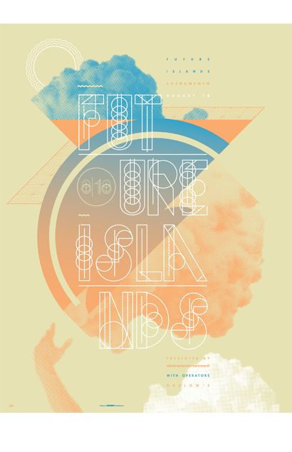 I focused on a fresh color scheme and custom typography, creating the band's name from line and shape for my 2014 poster for Future Islands show at Harlow's in Sacramento. I wanted something futuristic with a little soul and a little modern shape and bolt to it.  It's printed on 18″x24″ French Cement Green construction paper and features an incredibly smooth halftone gradient blending the blue into the pink. It's available now in a signed, limited edition of 50 prints total.
