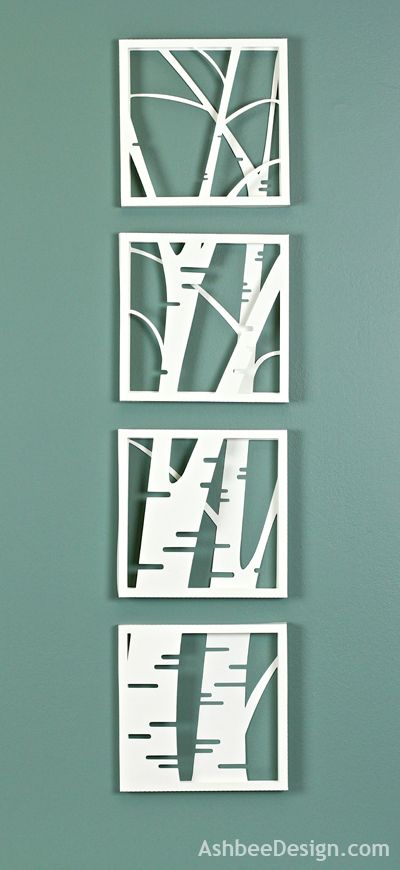 #papercraft #homedecor Ashbee Design: Birch Tree Shadow Box • Simple and Stunning- and when I finally break out my Silhouette, I'm definitely trying something like this.  And I happen to LOVE birch trees (have a quilt design featuring birch trees), so thanks for sharing, Ashbee Design!