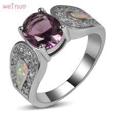Овальные фиолетовый кристалл белый опал белый кристалл кольцо стерлингового серебра 925 Одежда высшего качества изделия обручальные кольца...(China)