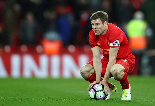 James Milner of Liverpool looks dejected after the Premier League match between Liverpool and AFC Bournemouth at Anfield on April 5, 2017 in Liverpool, England.