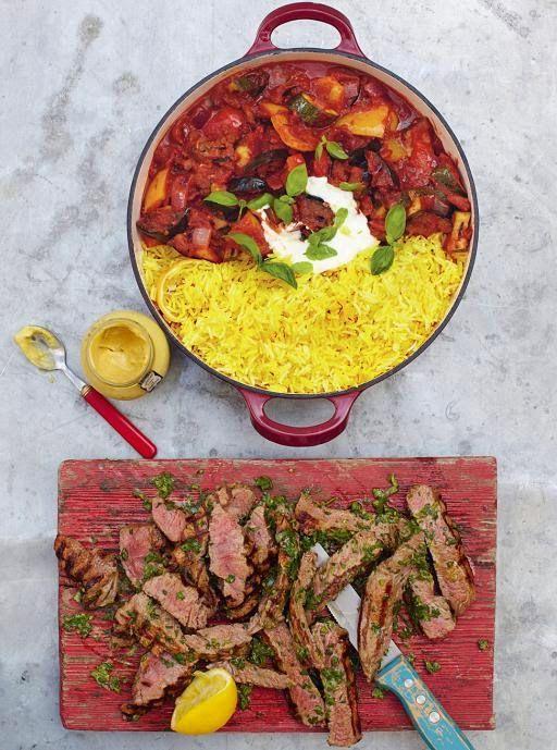 La cucina tradotta di Jamie: Bistecca alle erbe aromatiche, ratatouille e riso allo zafferano