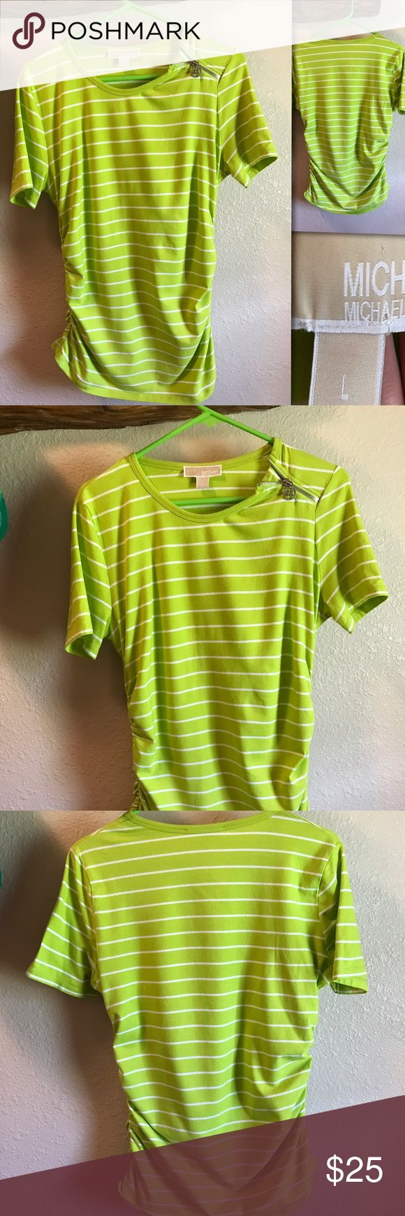 Michael Kors Lime Green Blouse. Size L Michael Kors  Lime Green & white striped shirt with Zipper accent on the left shoulder.  Elastic gathering on the sides at the bottom. Slightly worn still in great condition. Size L Michael Kors Tops Blouses
