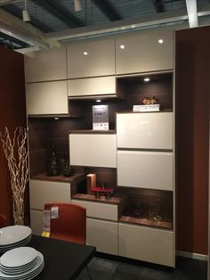 Image result for high gloss beige voxtorp china cabinet for Wohnwand beige modern
