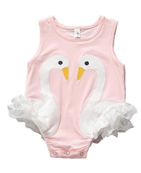 Swan Onesie with lace ruffles!!! Simply adorable. High quality, soft & comfy cotton Easy machine wash & dry low temp Fits true to size