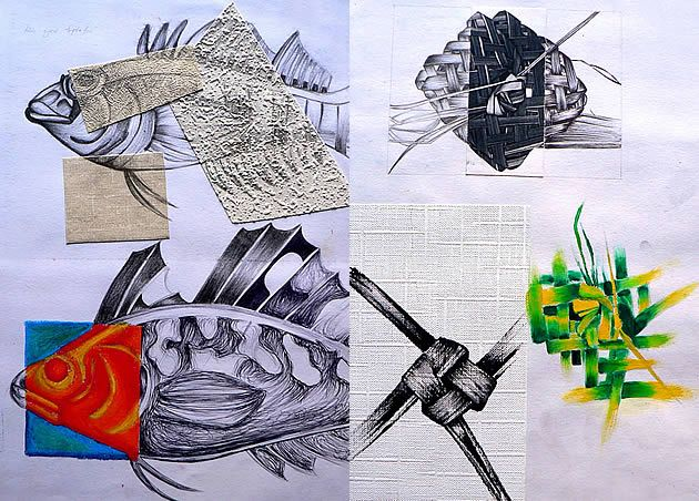 This page illustrates a range of great GCSE Art sketchbook ideas… such as the mixed media (textured wallpaper cuttings) that have been used in the fish drawings. The second sketchbook page depicts drawings of small flax items that the students made using traditional Maori weaving methods. This allowed the integration of a hands-on sculptural task, which gave extra variety to the course.